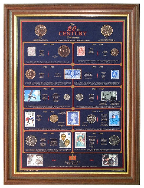 20th Century Collection (Mint) with Mahogany Frame