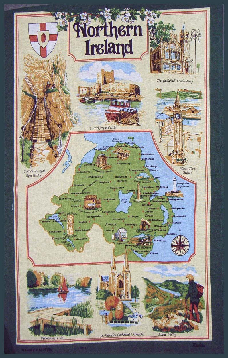 Map of Northern Ireland Linen Tea Towel