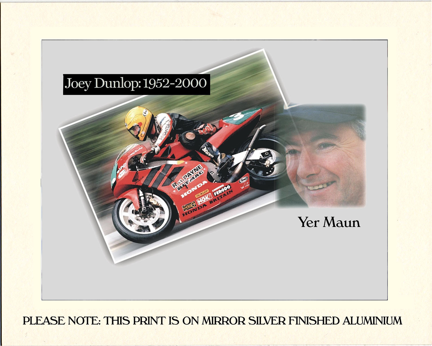 "Joey Dunlop Metal Finish Print 12"" x 8"""