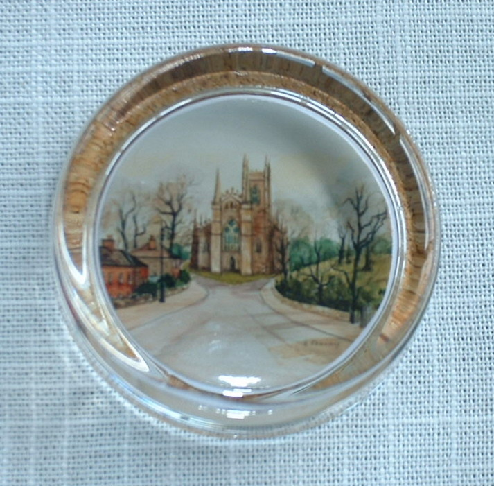 Flat Round Paper Weight - Down Cathedral