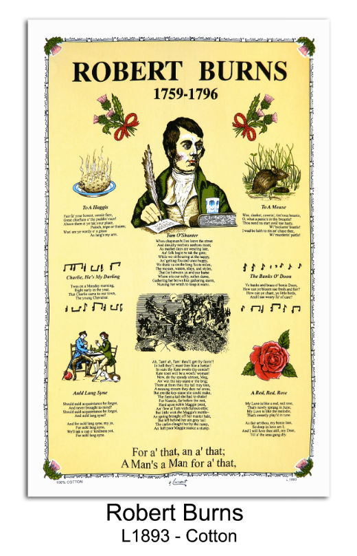 Robert Burns 1759 - 1796 Cotton Tea Towel