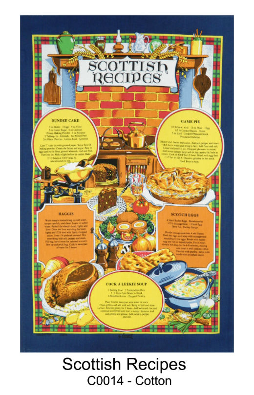 Scottish Recipes Cotton Tea Towel